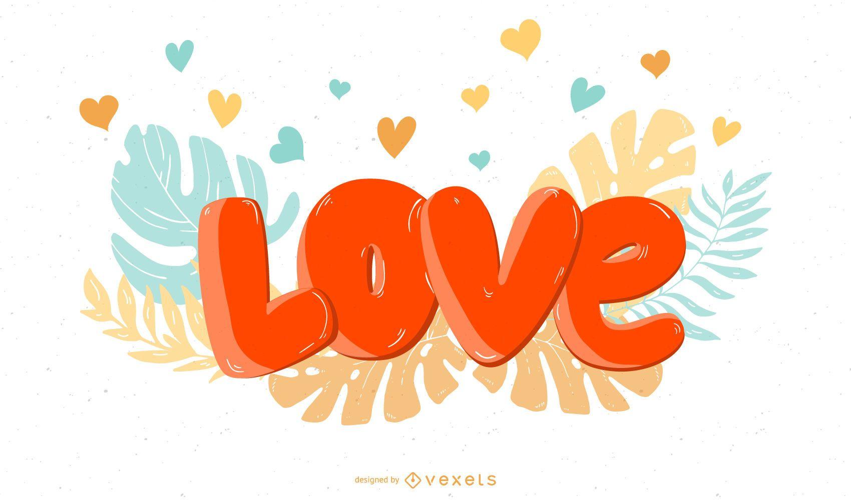 Arte vetorial colorida de fundo de amor