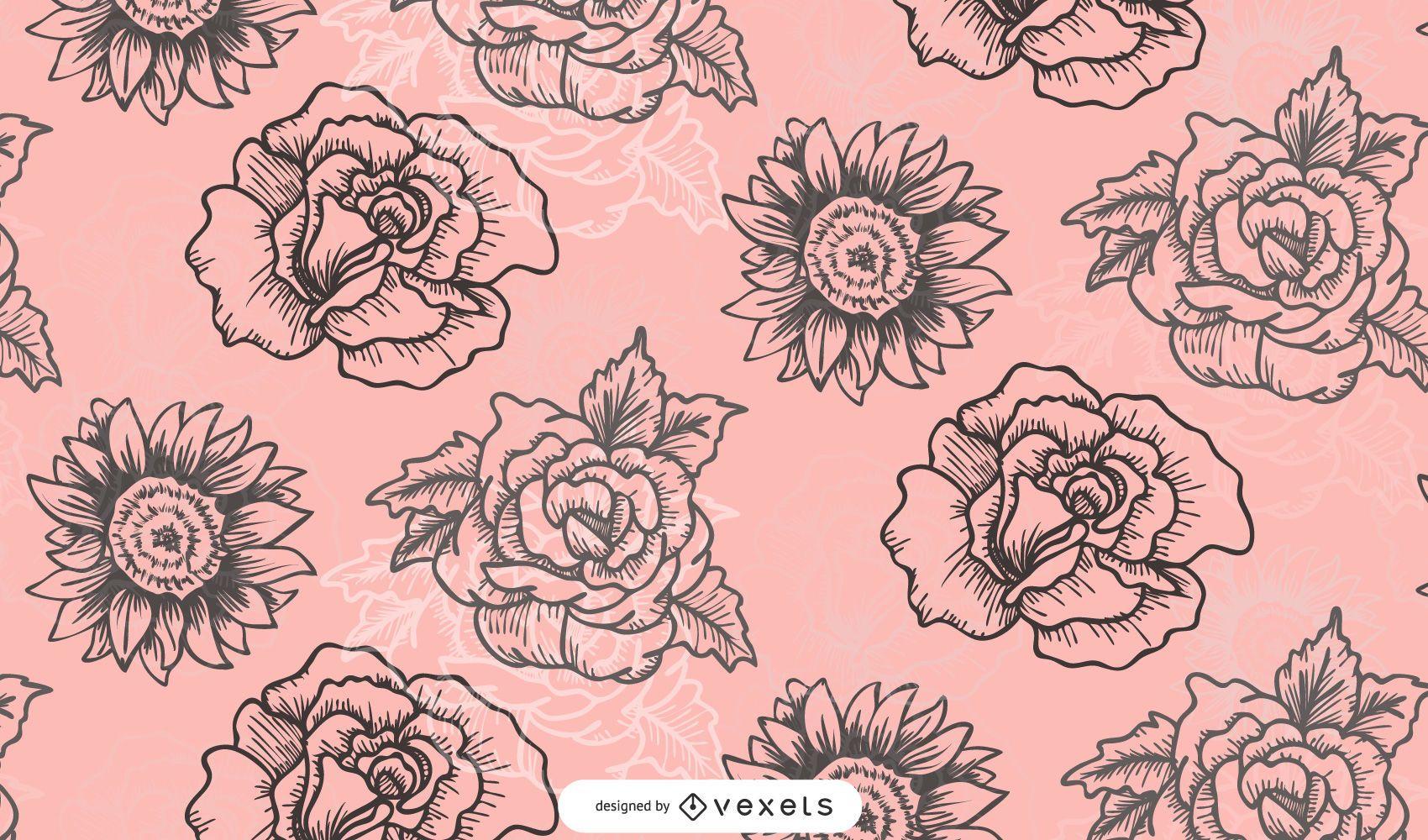 Estampa de flores de design de moda