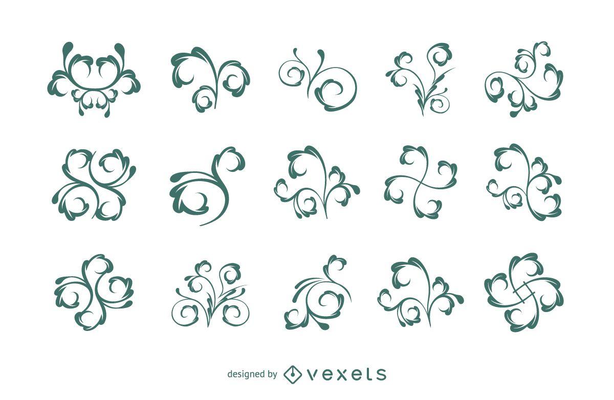 Elemento de adornos florales