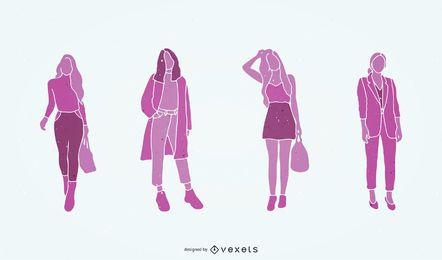 Ilustração em vetor silhueta para compras de moda