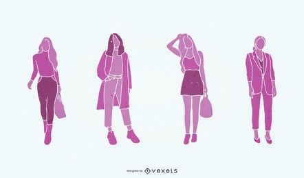 Mode-Einkaufs-Schattenbild-Vektor-Illustration