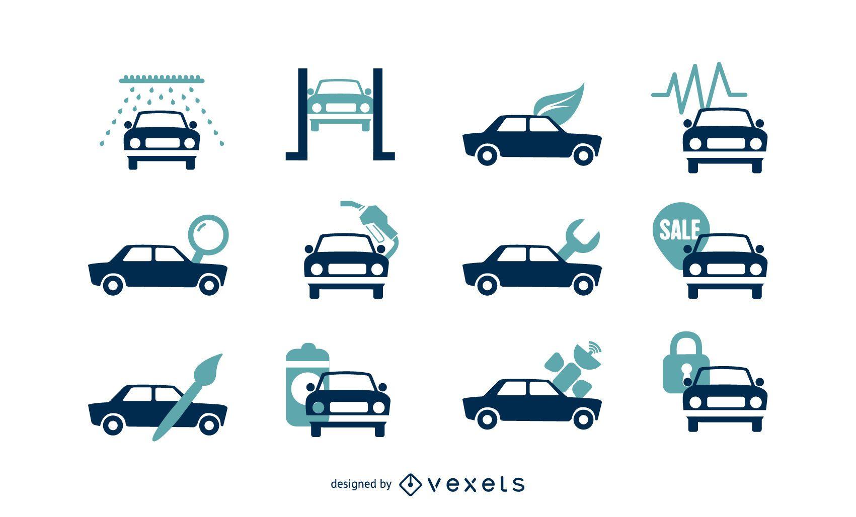 Iconos de vector de servicios de coche