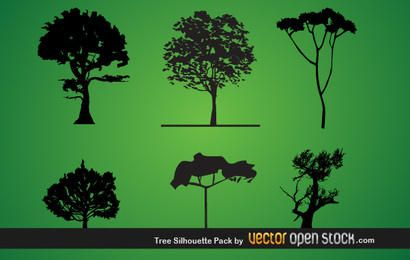 Paquete de silueta de árbol