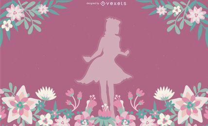 Menina, com, flores, vetorial, ilustração