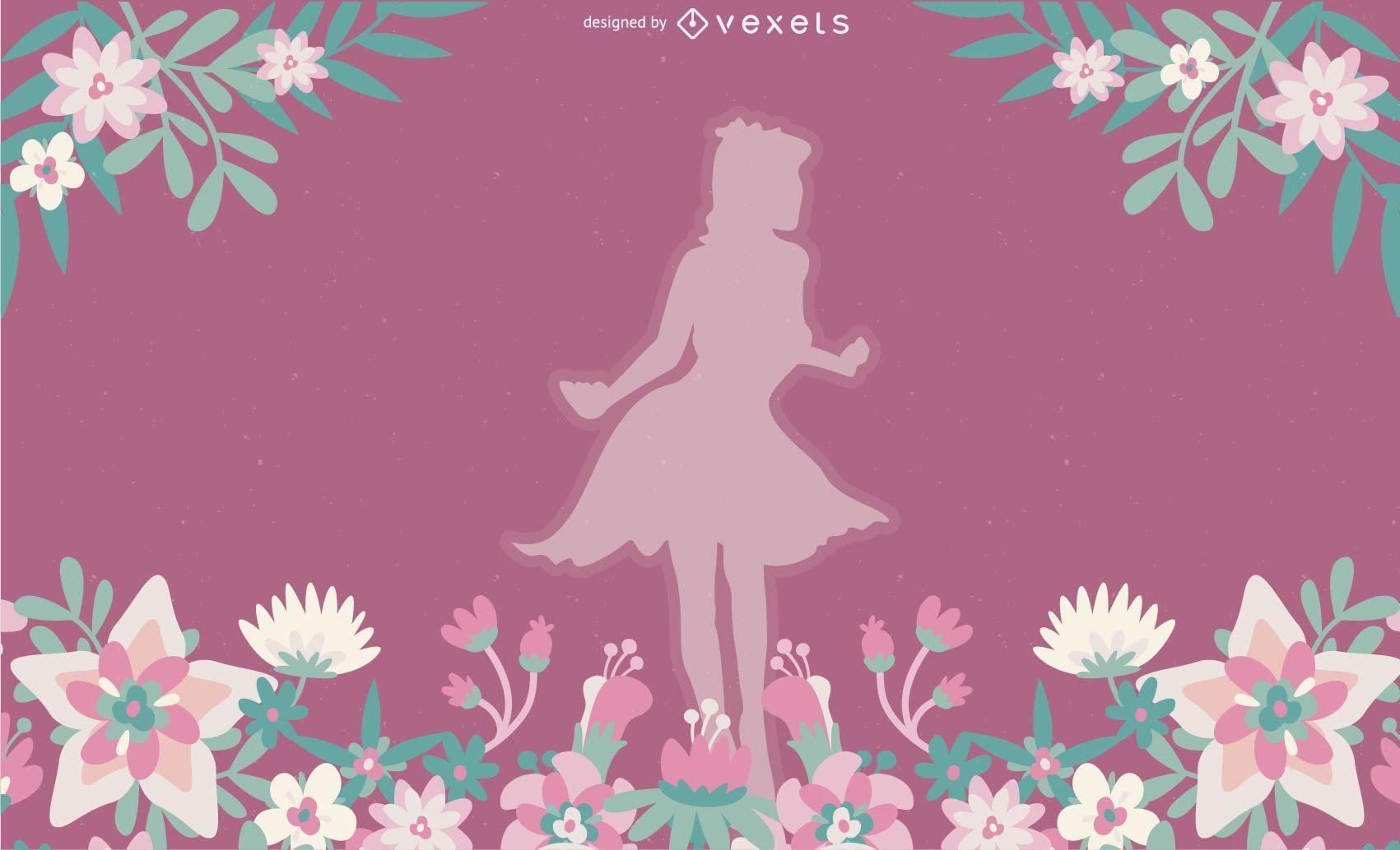 Menina com ilustra??o vetorial de flores