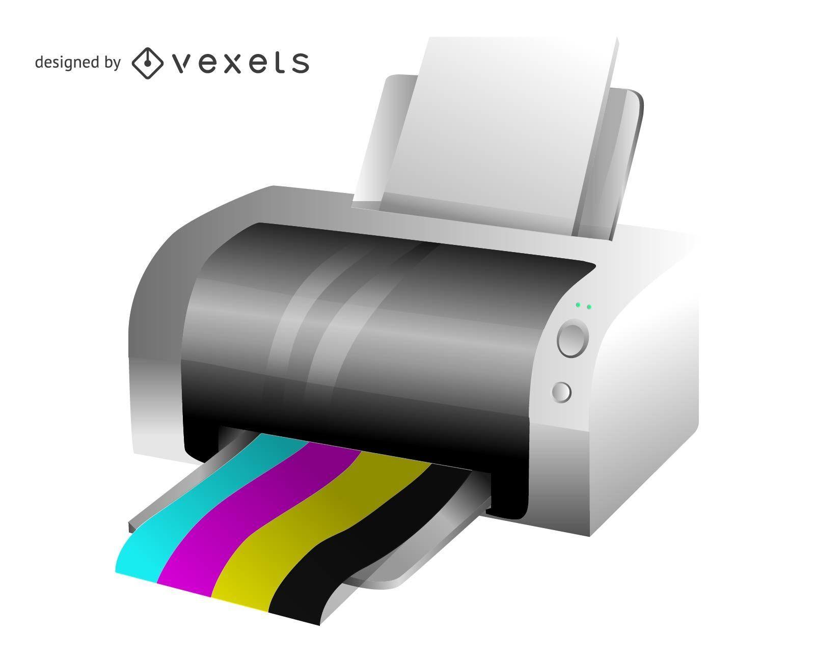 Ilustración de impresora vectorial 3D