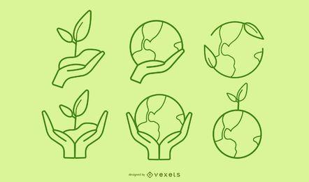 Colección de iconos de tema verde