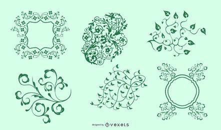 Vector Green Seamless Floral Ornament