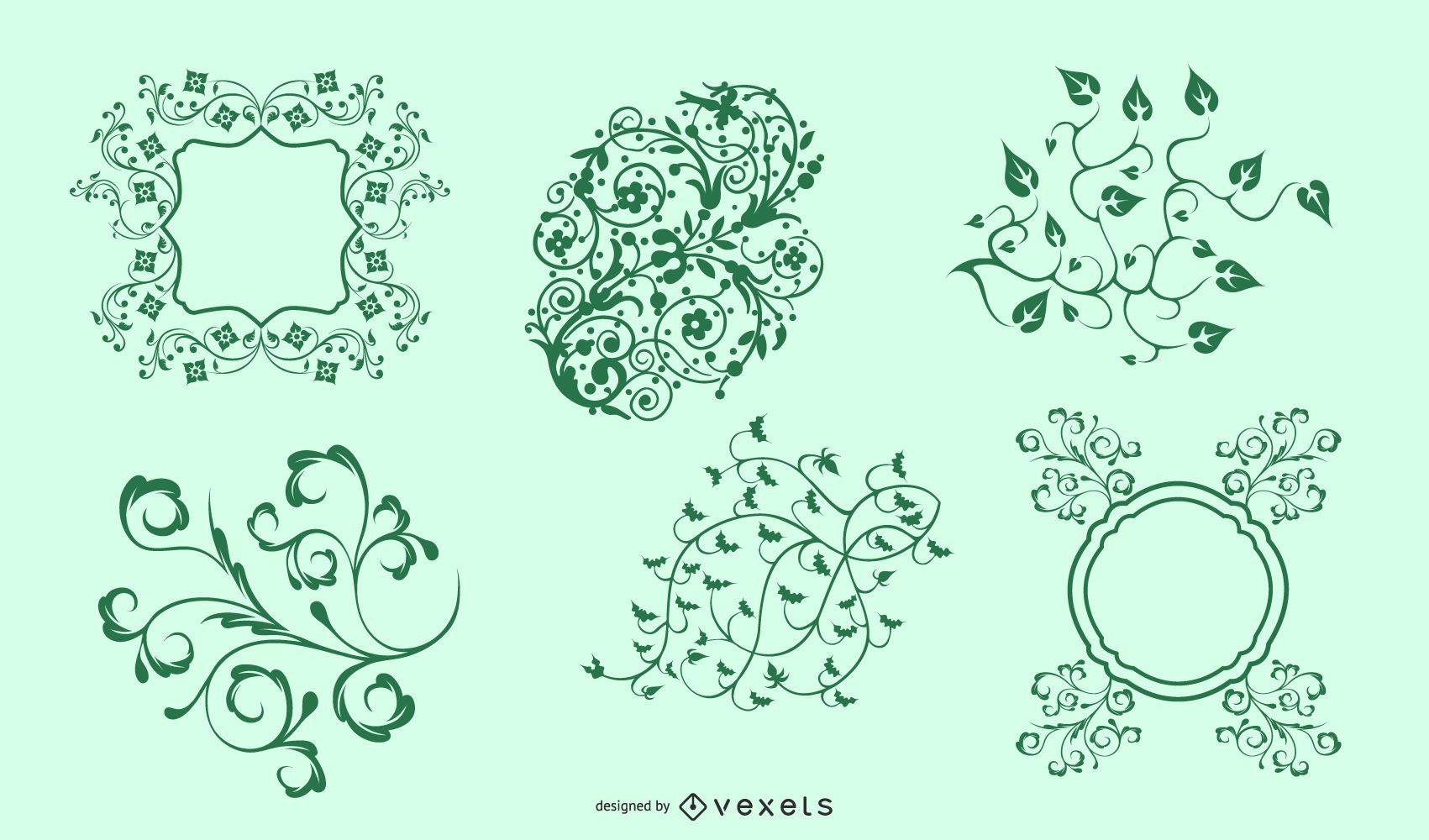 Vector ornamento floral transparente verde