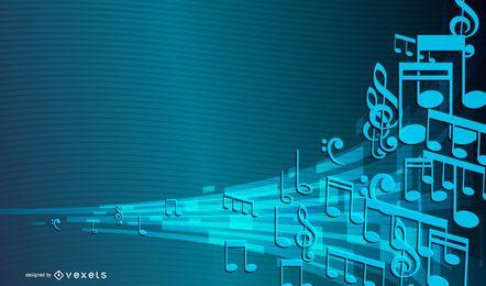 Fondo colorido del vector de la música 3D