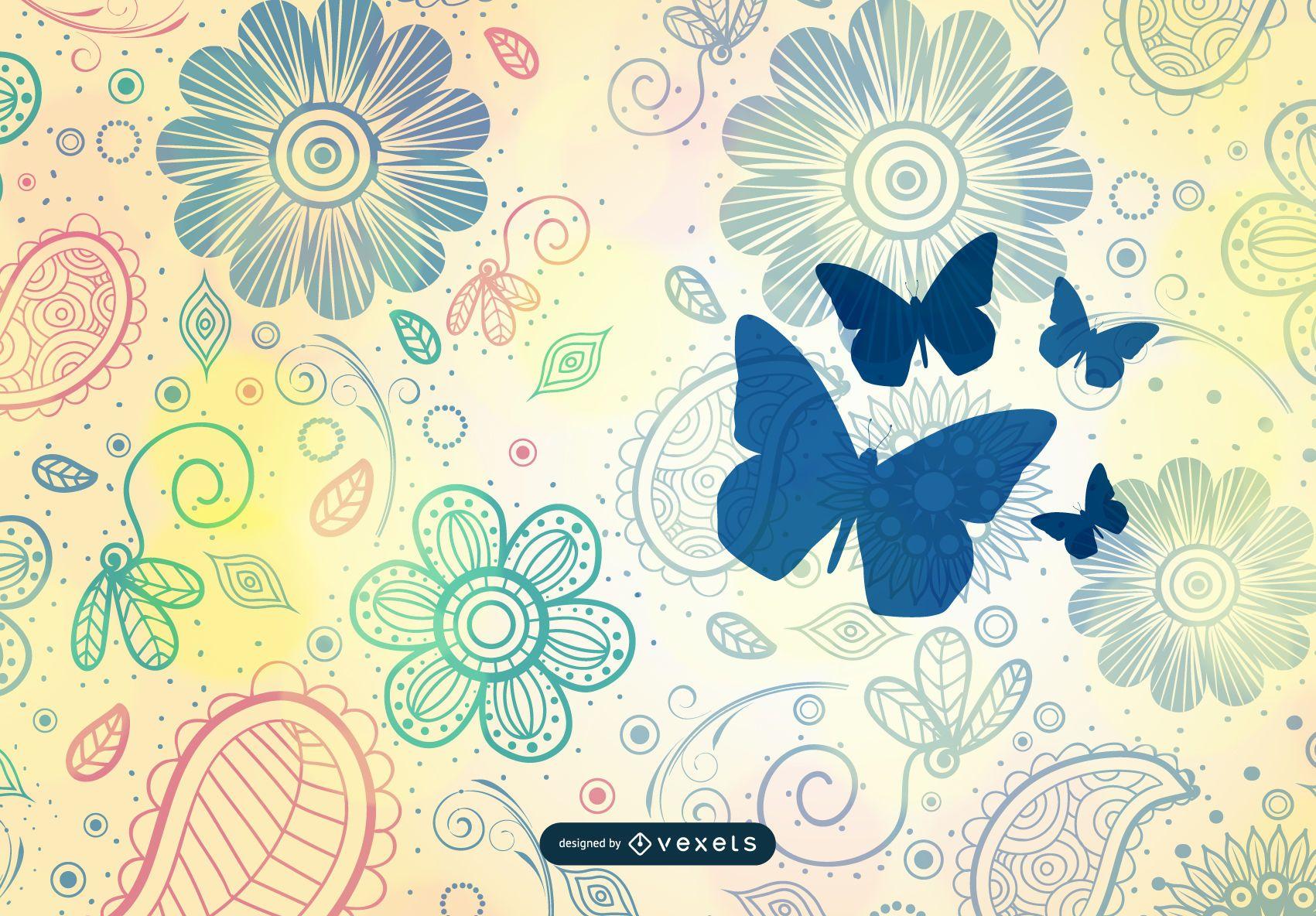 Arte vetorial de fundo vintage flor padrão