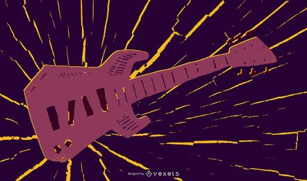 Grungy Guitar Music Illustration