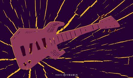 Ilustração de música guitarra grungy