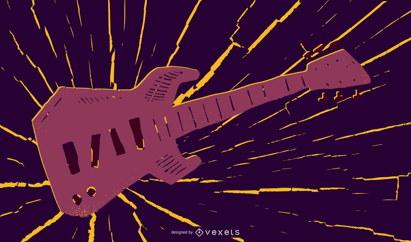 Ilustración de música de guitarra grungy