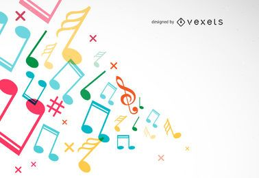 Fundo abstrato com ilustração vetorial de músicas