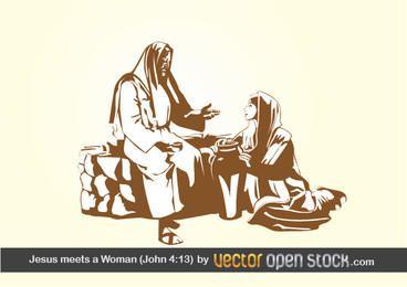 Jesus encontra uma mulher (João 4:13)