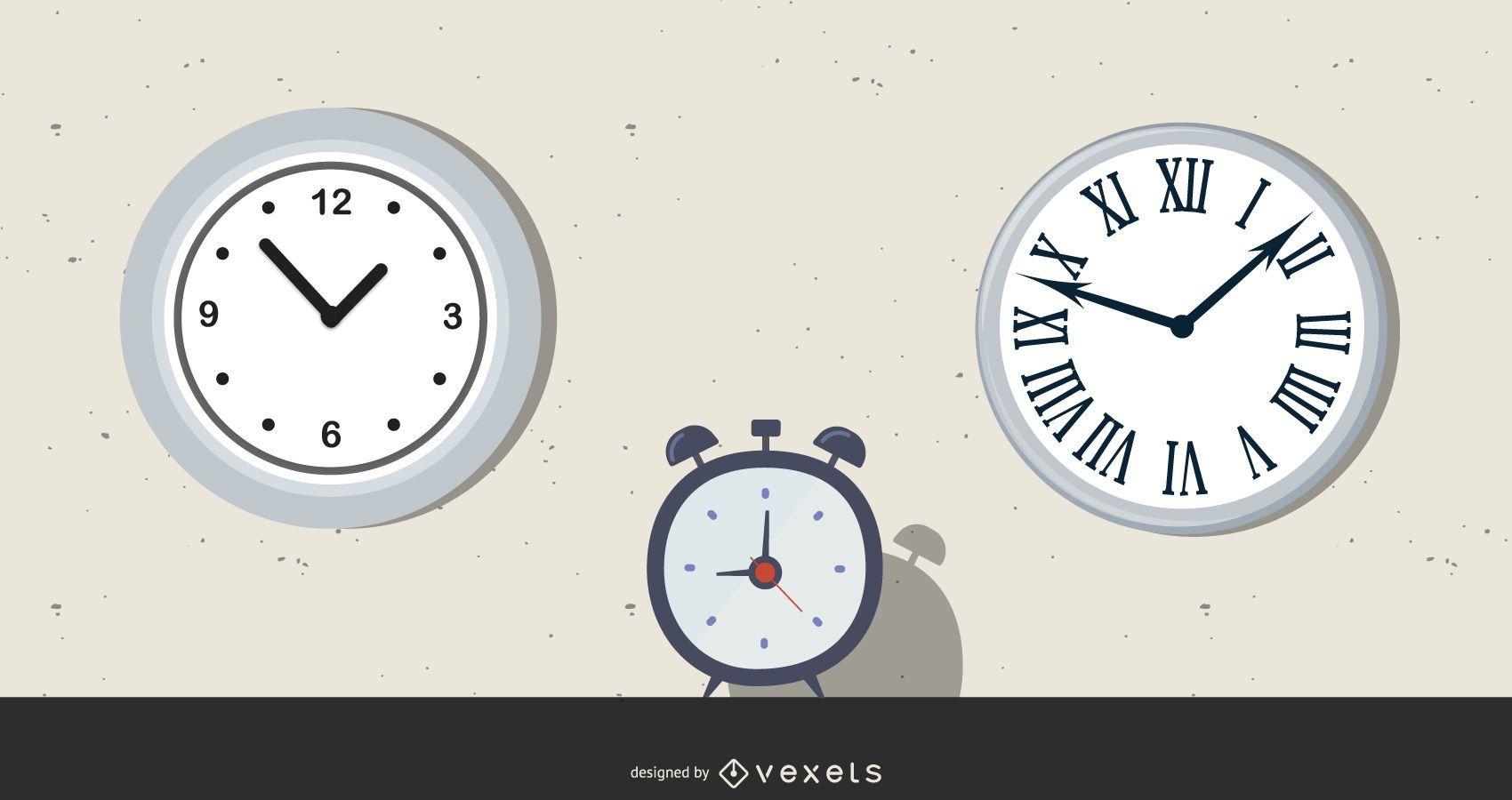 Ilustraciones vectoriales de reloj