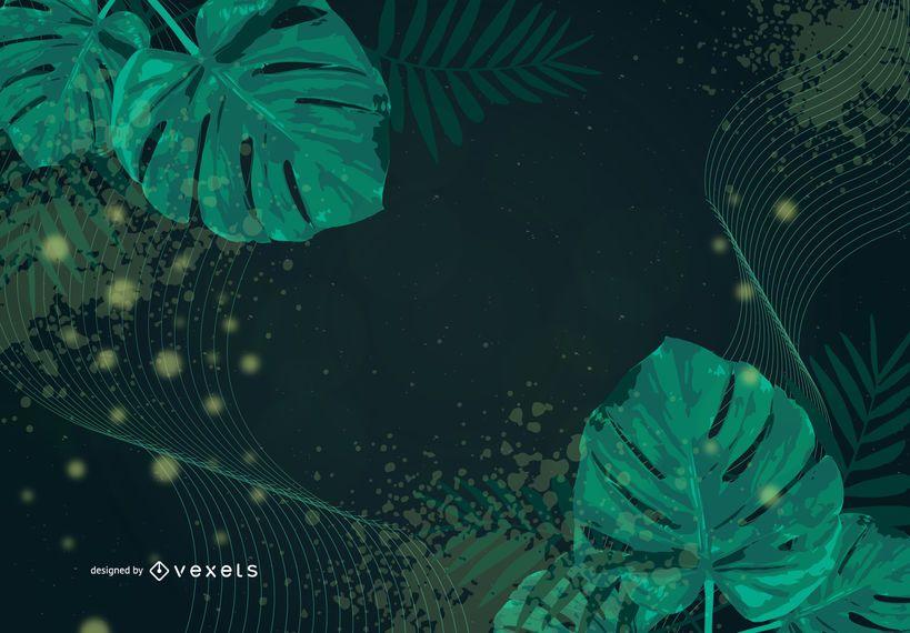 Fondo floral abstracto del vector del remolino verde