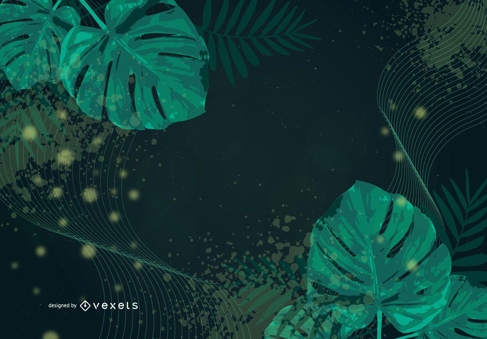 Fondo de vector floral remolino verde abstracto