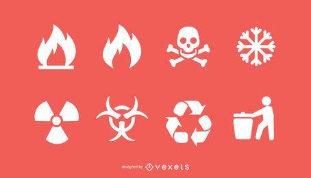 Conjunto de iconos de bio peligro y reciclaje