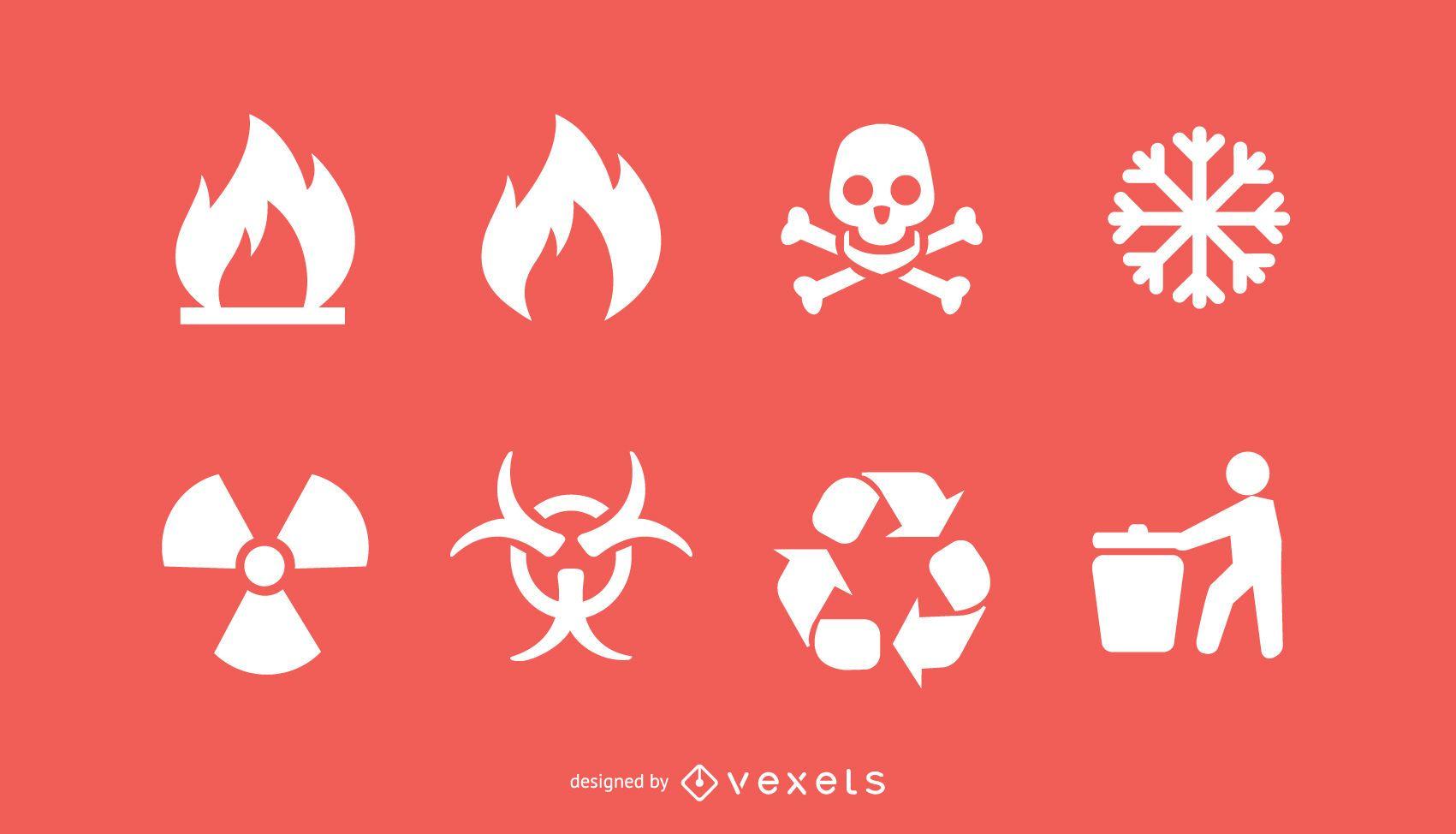 Conjunto de ícones de Bio Hazard e reciclagem