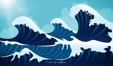 Ilustração em vetor abstrato ondas azuis
