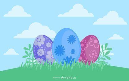 Ovos de Páscoa decorados na grama