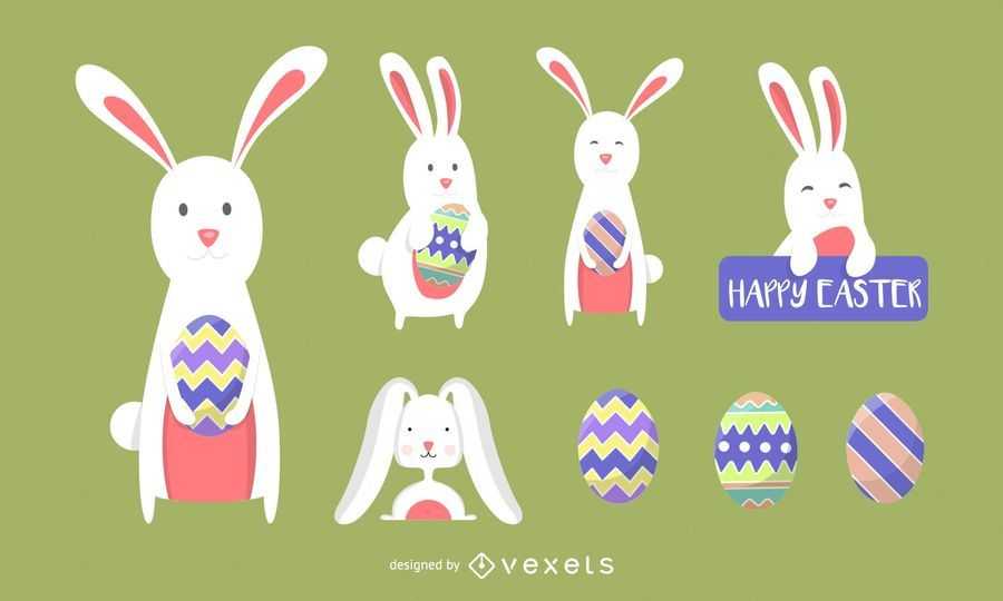 Easter Bunny Vector Icons