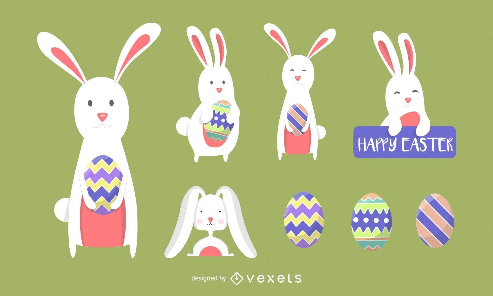 Iconos del vector del conejito de Pascua