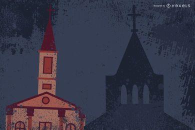 Diseño de la iglesia de grunge