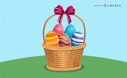 Ilustração de cesta de Páscoa