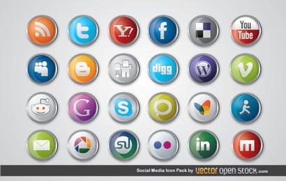 Paquete de iconos de redes sociales brillantes