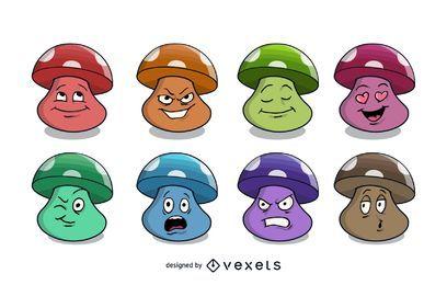 Conjunto de vetores de cogumelos dos desenhos animados