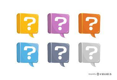 Conjunto de vetores de ponto de interrogação colorido
