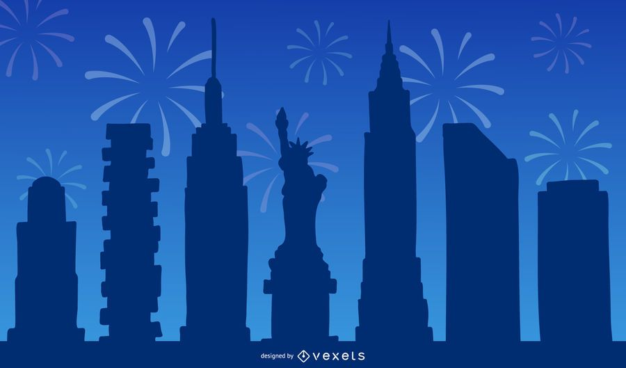 Skyline and Fireworks Silhouette Design