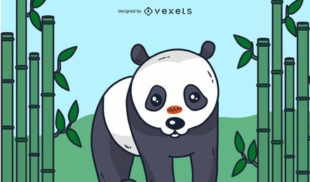 Panda Cartoon Illustration Design