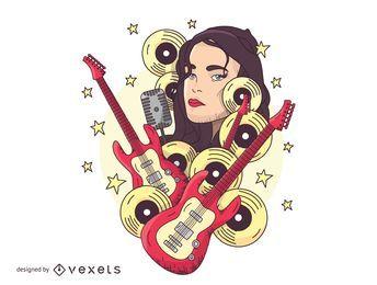 Diseño de la camiseta de la cara de la guitarra