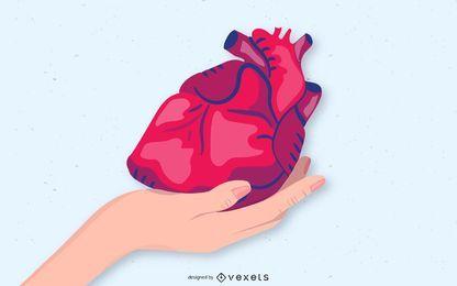 Mano sosteniendo corazon