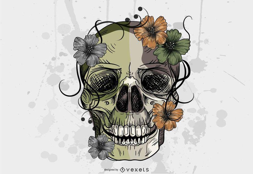 Grungy style skull illustration