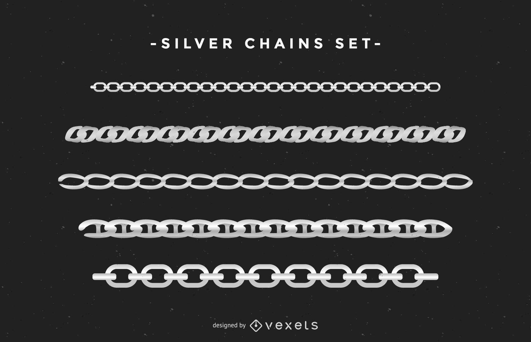 Conjunto de cadenas de plata