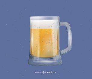 Óculos de cerveja realista e bolhas de cerveja