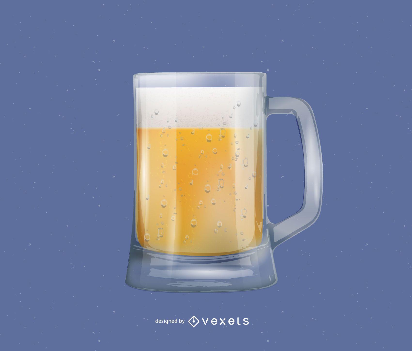Vasos de cerveza realistas y burbujas de cerveza