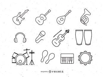 Conjunto de gráficos de instrumentos de música
