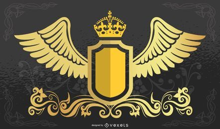 Kronenschild mit Flügeln