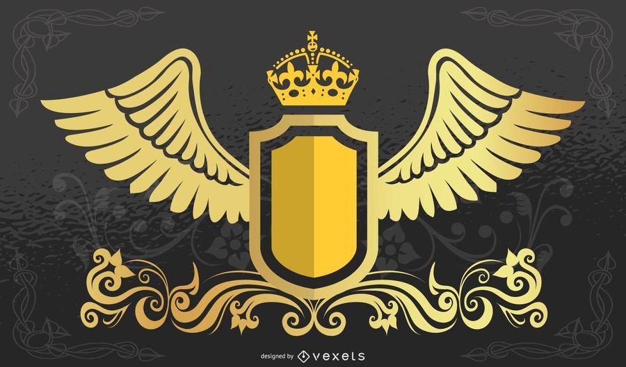 Crown Shield with Wings