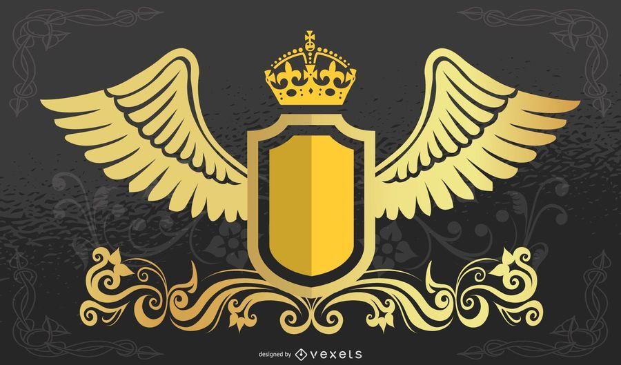 Escudo de corona con alas