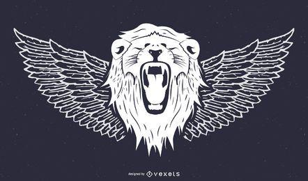 Cabeza de león y viento
