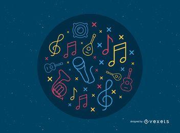 Fundo de notas do vetor de música