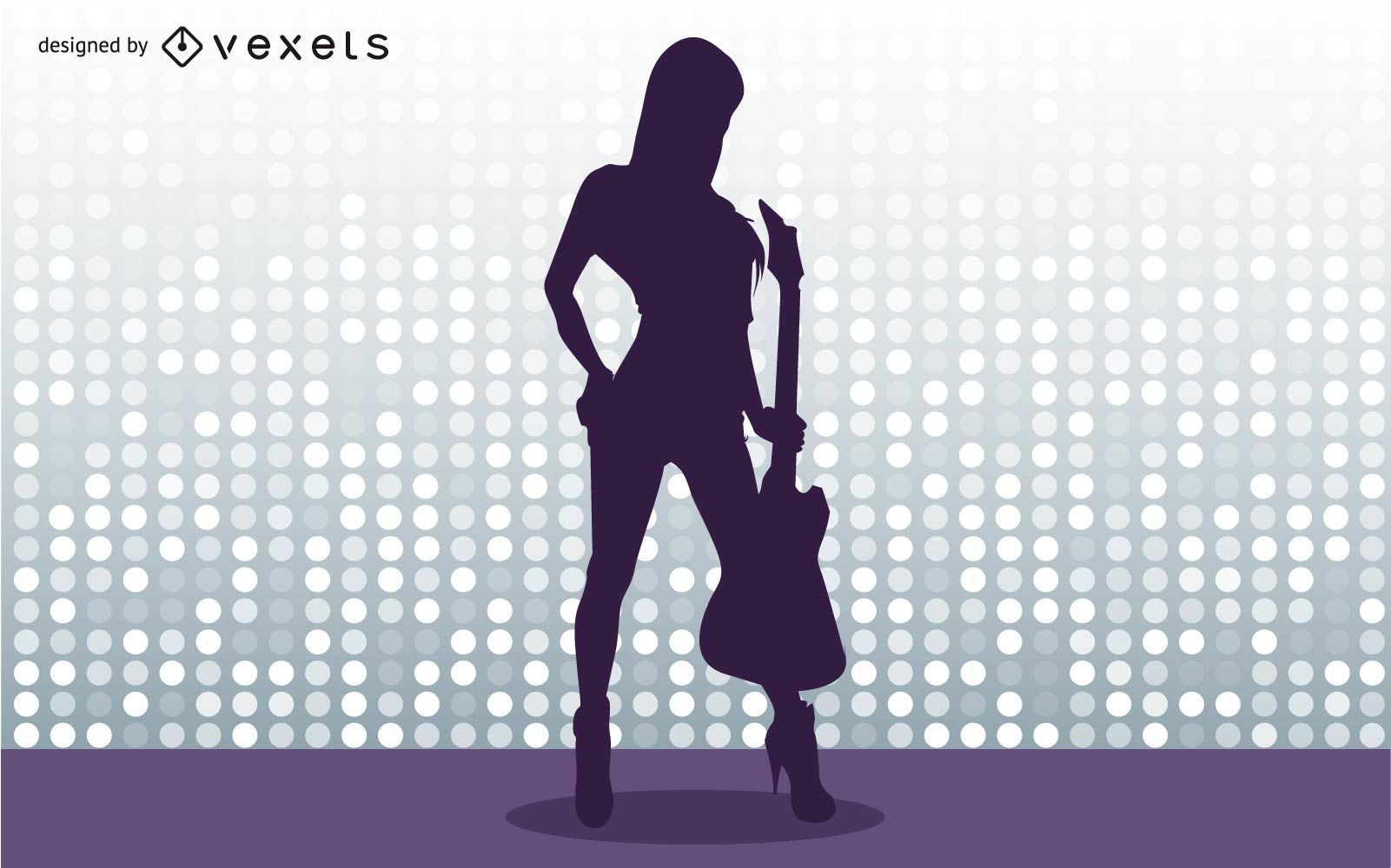 Guitar Player Girl Vector