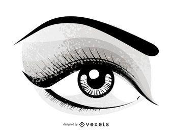 Vetor de olhos pintados à mão
